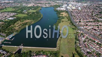 Brent Reservoir And North Circular Road, London Filmed By Helicopter