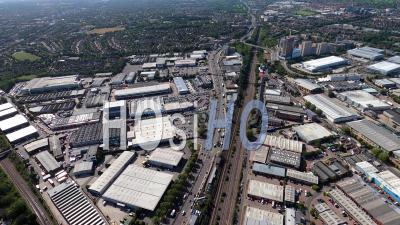 Park Royal, Hanger Lane, North Acton And Western Avenue, London, Filmed By Helicopter
