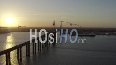 Saint-Nazaire's Bridge In Industrial Area In France - Video Drone Footage