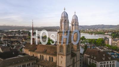 Aerial View Shot Of Zurich, Iconic Grossmunster, Switzerland - Video Drone Footage