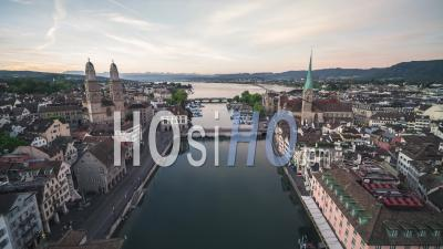 Aerial View Shot Of Zurich, Wide Establishing, Old Town, Switzerland - Video Drone Footage