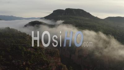 Gorges Du Blavet Esterel Var Cote D'azur South Of France Sunrise Forest Cliffs Rocks Fog - Video Drone Footage
