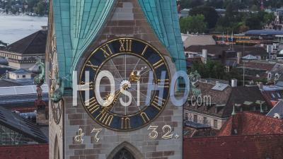 Aerial View Shot Of Zurich, Amazing Fraumunster Clock, Switzerland - Video Drone Footage