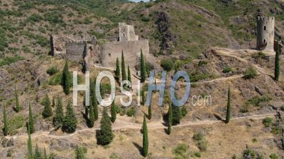 Aerial View Of Castles Of Lastours, Historical Cathars Ruins, Seen By Drone