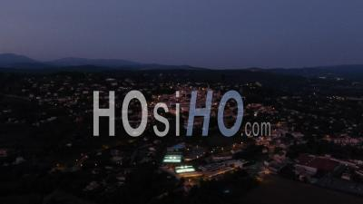 Aerial Footage Of Fayence At Night, Provencal Village, Var, Seen By Drone, Provence Alpes Cote D'azur, France