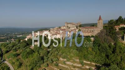Aerial Footage Of Callian, Historical Village Of Provence, Var, Seen By Drone