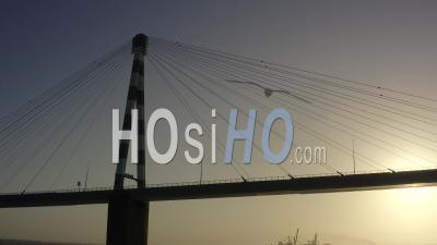 Saint-Nazaire Bridge At Sunset In Loire Atlantique France - Video Drone Footage