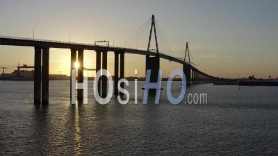 Saint Nazaire's Bridge At Sunset In France Loire Atlantique - Video Drone Footage