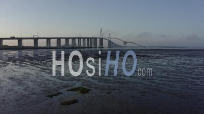 Saint Nazaire's Bridge In France Loire Atlantique - Video Drone Footage
