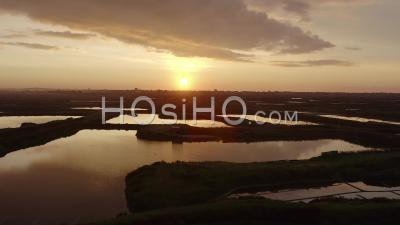 Guerande Loire Atlantique France Sunset Salt Marshes Salin - Video Drone Footage