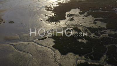 Guerande Sissable Loire Atlantique France Salt Marshes Sandbank Sunset - Video Drone Footage