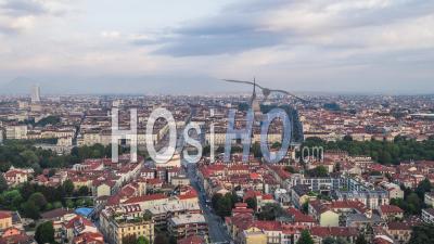 Establishing Aerial View Shot Of Turin It, Mole Antonelliana On The Horizon, Torino Skyline, Italy - Video Drone Footage