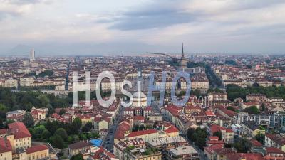 Establishing Aerial View Shot Of Turin It, Mole Antonelliana On The Horizon, Torino Skyline, Italy - Video Drone Footage