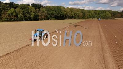 Aerial View Of Agricultural Tractor While Working In The Fields, Drone Point Of View
