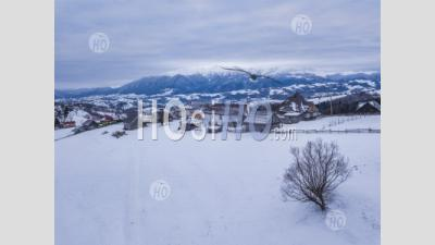 Snowy Winter Landscape In The Carpathian Mountains, Bran, Transylvania, Romania - Aerial Photography