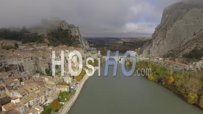 Sisteron Town And The River Durance, French Alps, France – Aerial View By Drone