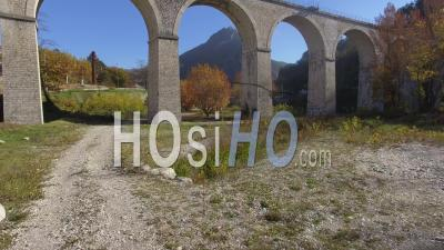 Sisteron Citadel, The River Buech And Road And Rail Bridges, French Alps, France – Aerial View By Drone
