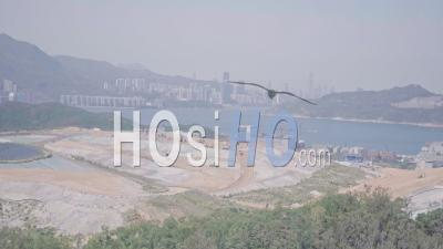 Landfill, An Environmental Issue Causing Climate Change, Seen In Hong Kong. Aerial Drone View