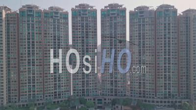 Residential Blocks Of Flats Skyscrapers In Happy Valley, Hong Kong. Aerial Drone View
