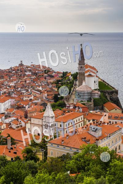 Piran And St George Parish Church Bell Tower, Seen From Piran Town Walls, Slovenian Istria, Slovenia, Europe