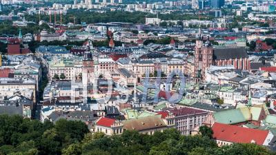 Old Town, Main Market, Stare Miasto, Rynek Glowny, Krakow, Cracow - Video Drone Footage