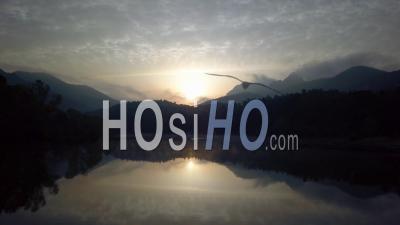 Lake Esterel Var Provence Alpes Cote D'azur France Fog Spring Stand Up Paddle - Video Drone Footage