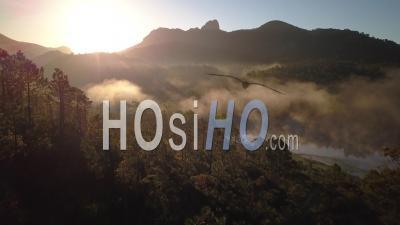Lake Esterel Var Provence Alpes Cote D'azur France Fog Spring - Video Drone Footage