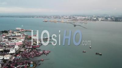 Aerial View Penang Jetty - Video Drone Footage