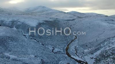 Cairngorm Mountains In Winter Snow Scottish Highlands - Video Drone Footage