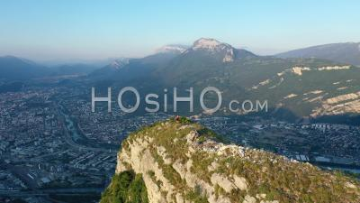 Le Neron, Vertiginous Summit In The Chartreuse With Trekker, France, Drone Point Of View