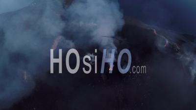Explosions Filmed By Drone On Stromboli Volcano, Aeolian Islands, Italia
