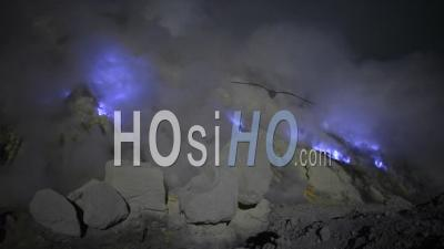 Blue Flames Of Kawah Ijen Volcano Indonesia