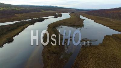 Aerial View Of The River Oykel In Sutherland Scotland Uk - Video Drone Footage