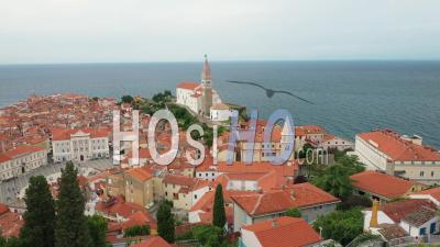 Piran, Slovenia, Square And Church, Sea View - Video Drone Footage