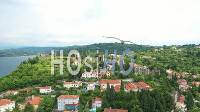 Fortress Walls In Piran, Slovenia - Video Drone Footage