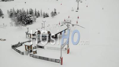 Closed Chair Lift In French Ski Resort - Video Drone Footage
