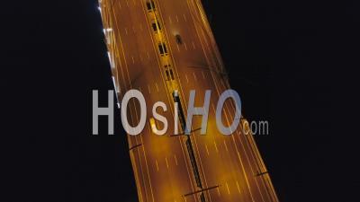 Bridge Toll Road In St. Petersburg, Top View - Video Drone Footage