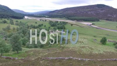 Aerial View Of The River Dee Near Braemar In The Scottish Highlands Scotland Uk - Video Drone Footage