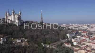 Panorama Of Lyon City Centre And The Basilica Church Of Fourviere By Drone On A Sunny Day, Lyon, France