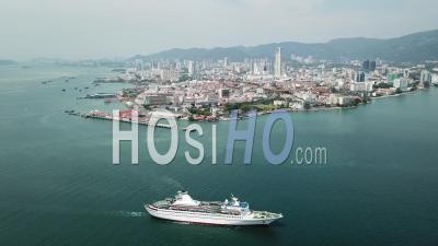 Cruise Ship Move At Penang Sea - Video Drone Footage