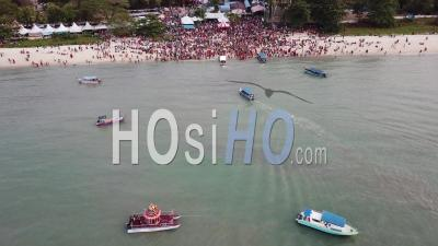 Crowds Attend The Festival Floating Chariot By Vehicle Or By Boat - Video Drone Footage