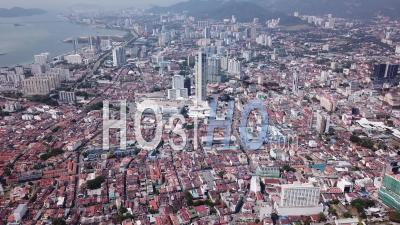 Aerial View Komtar Tower - Video Drone Footage