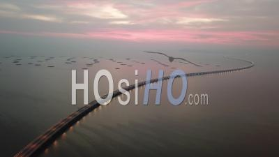 Twilight Hour At Penang Second Bridge. Less Car Due To Coronavirus Covid-19 - Video Drone Footage