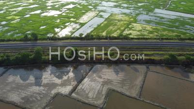 Aerial Sliding Over Railway Surrounded By Paddy Field - Video Drone Footage