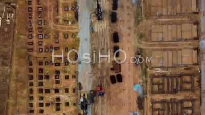 Construction Site In Yellow Soil. - Video Drone Footage