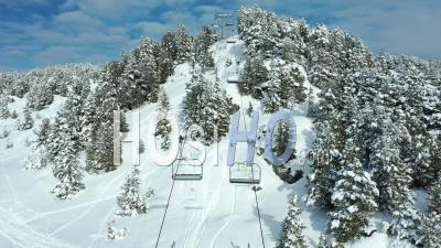 Chamrousse Ski Resort During Covid, Near Grenoble, France, Drone Point Of View