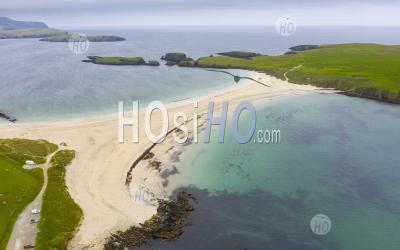View Of St Ninian's Isle And Beach , Called A Tombolo Or Ayre, At Bigton, Dunrossness, Shetland, Scotland, Uk - Aerial Photography