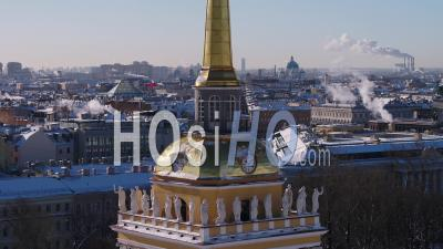 Admiralty Board, Russian Empire And View Saint Isaacs Cathedral - Video Drone Footage