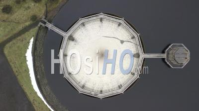 Water Overflowing Into Spillway At Whiteadder Dam - Video Drone Footage
