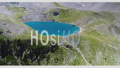 Lake Sainte-Anne In Queyras, France, Viewed From Drone
